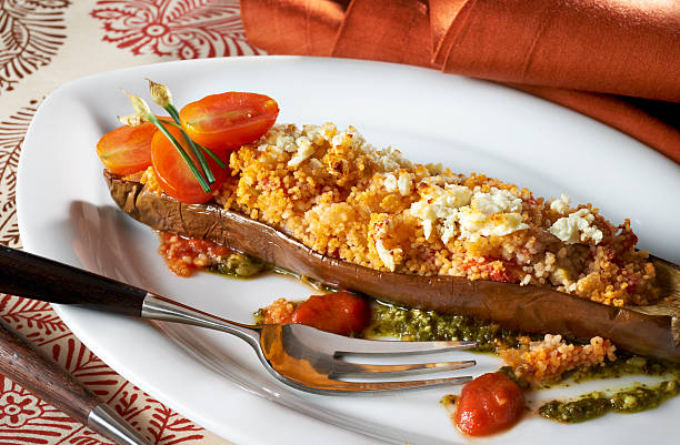 Eggplant stuffed with couscous and Ricotta Cheese stock photo