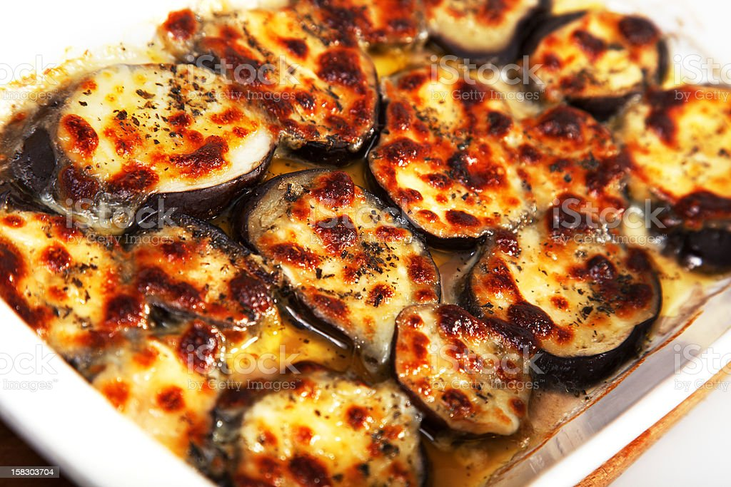 Eggplants with mozzarella and basil royalty-free stock photo