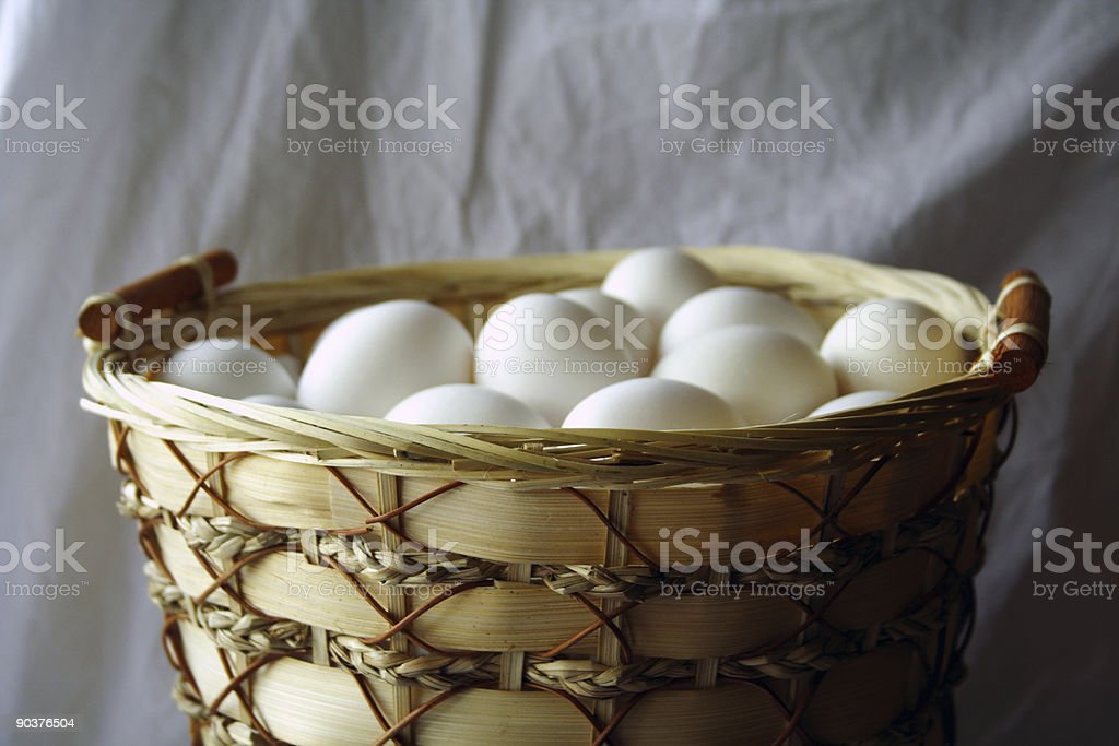 Eggs all in 1 basket stock photo