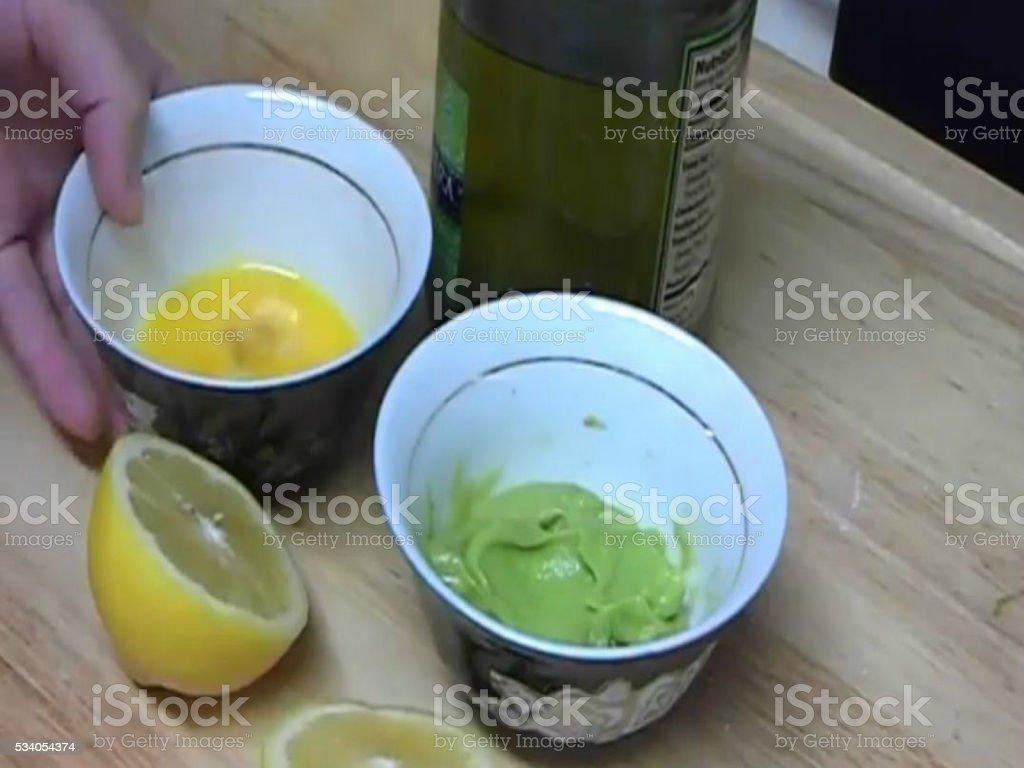 Eggs and avocado stock photo