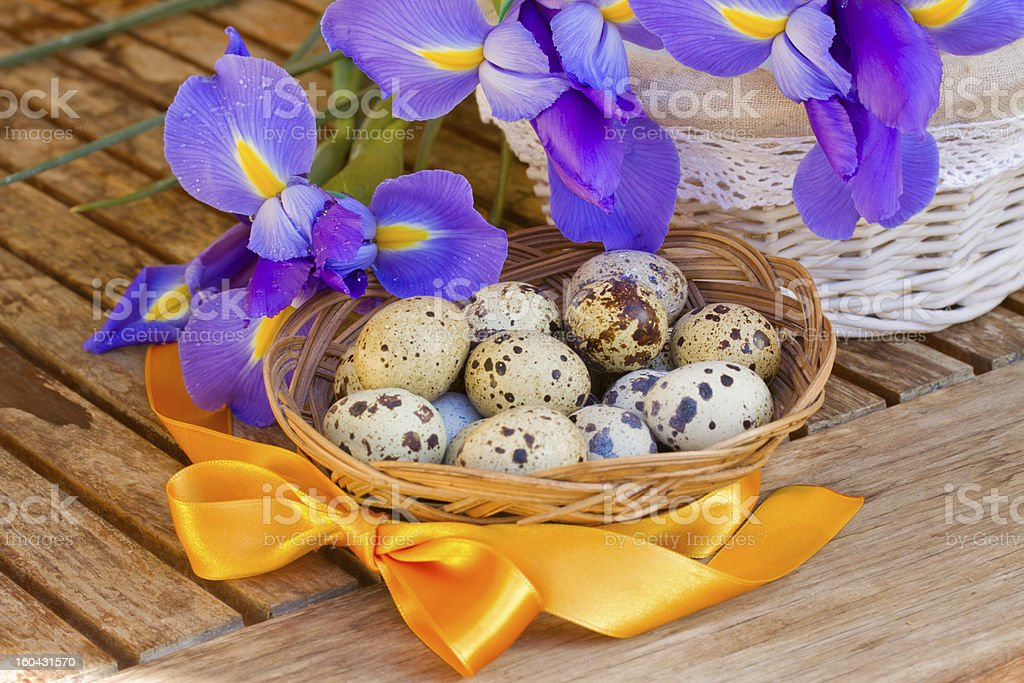 eggs and irises for easter royalty-free stock photo