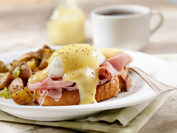 Eggs Benedict with Black Forest Ham and Hash Browns on Grilled French Bread stock photo
