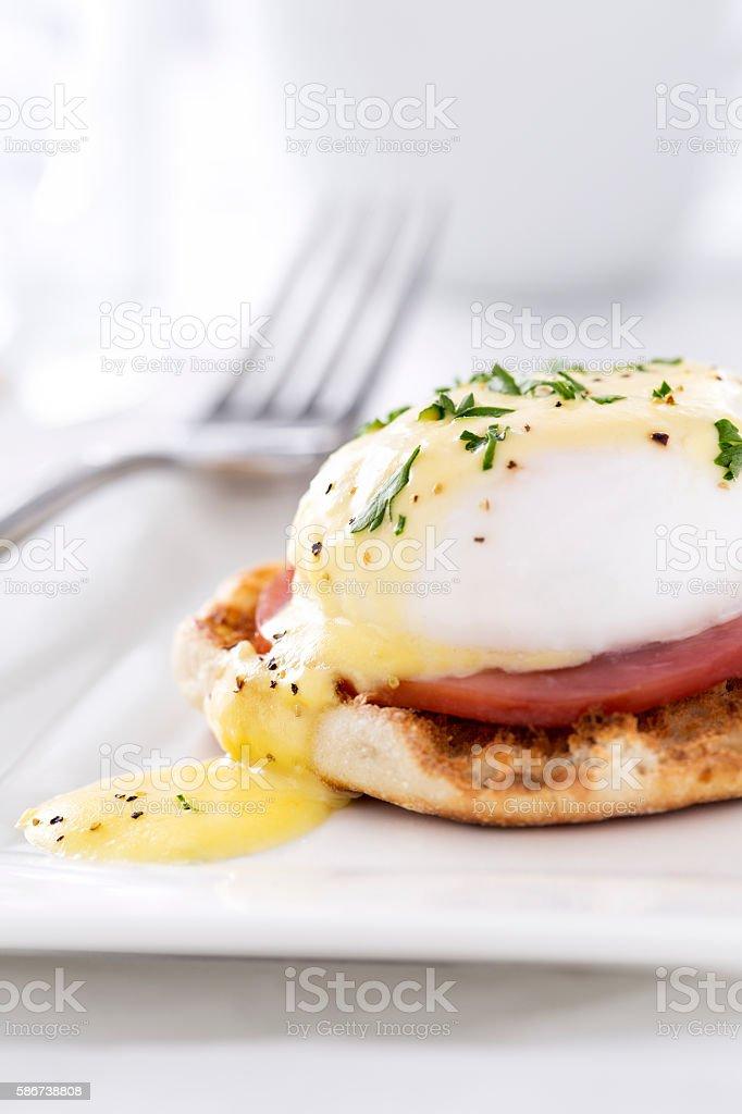 Eggs Benedict with Hollandaise Sauce stock photo