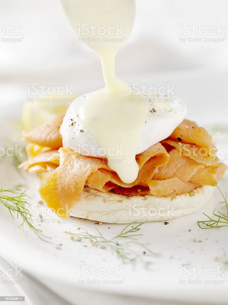 Eggs Benedict with Smoked Salmon and Fresh Dill royalty-free stock photo