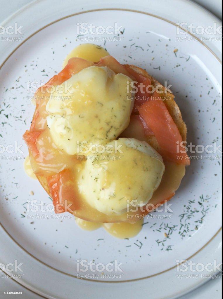 Eggs Benedict with Smoked Salmon stock photo