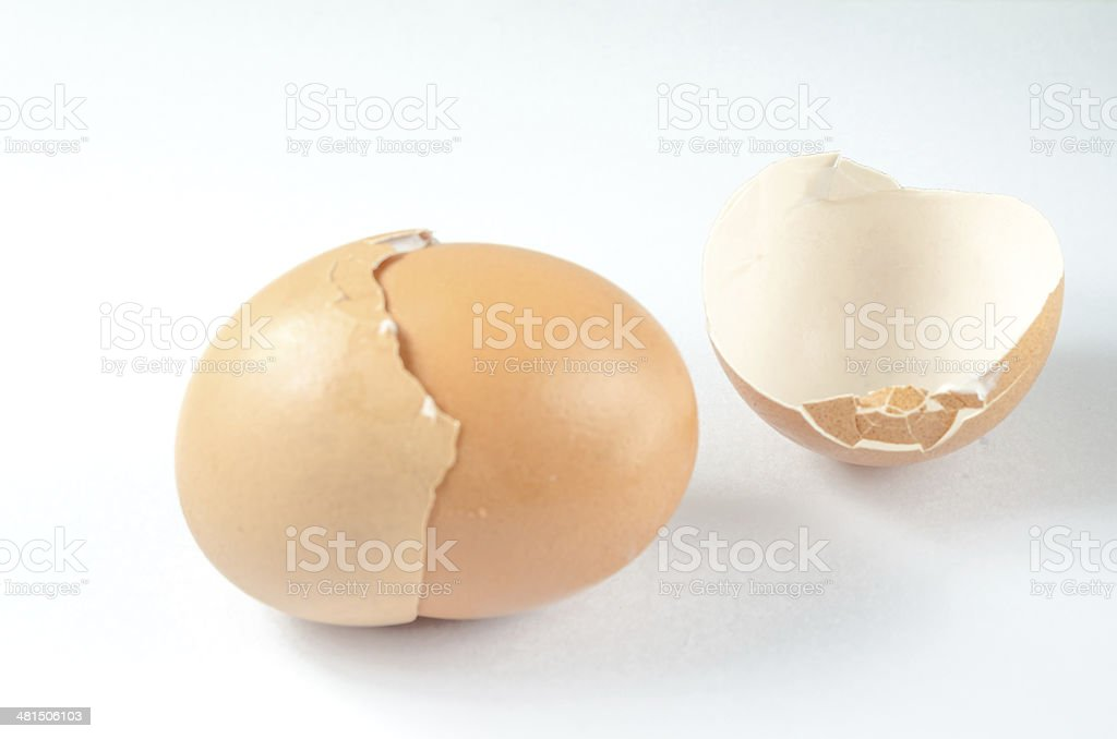 eggs broken on isolated white background royalty-free stock photo