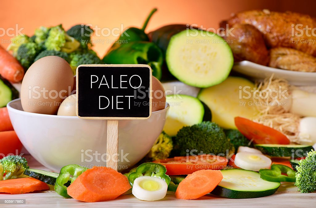 eggs, chicken, vegetables and text paleo diet stock photo