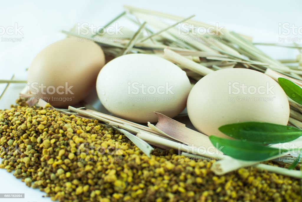 Eggs, crops, and herbs on a white background isolated royalty-free stock photo