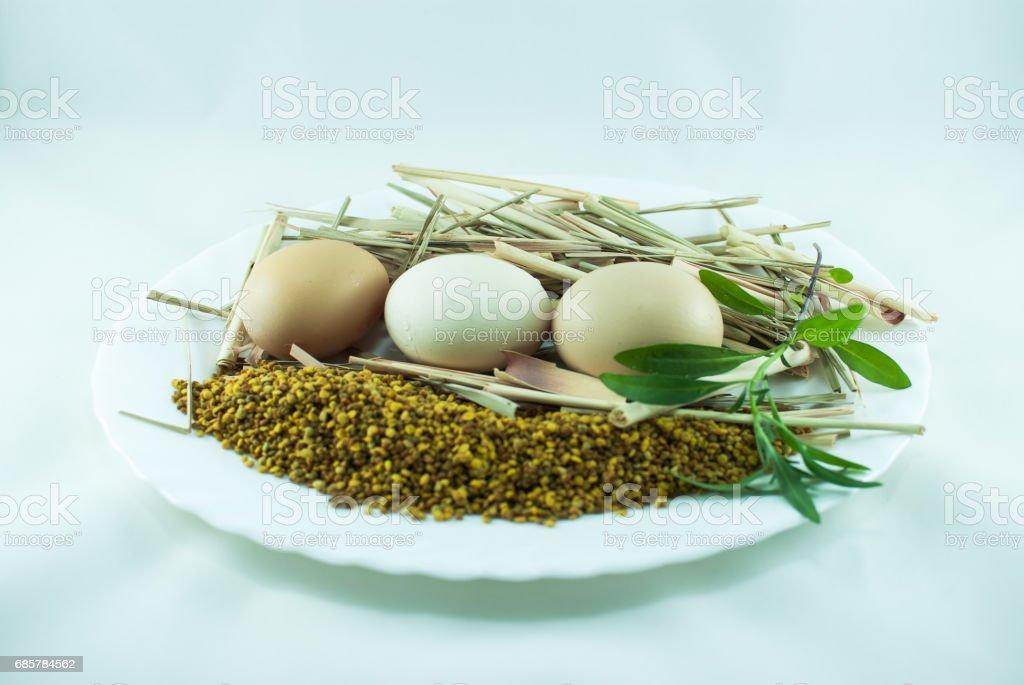 Yumurta, bitkiler ve otlar izole beyaz bir arka plan üzerinde royalty-free stock photo