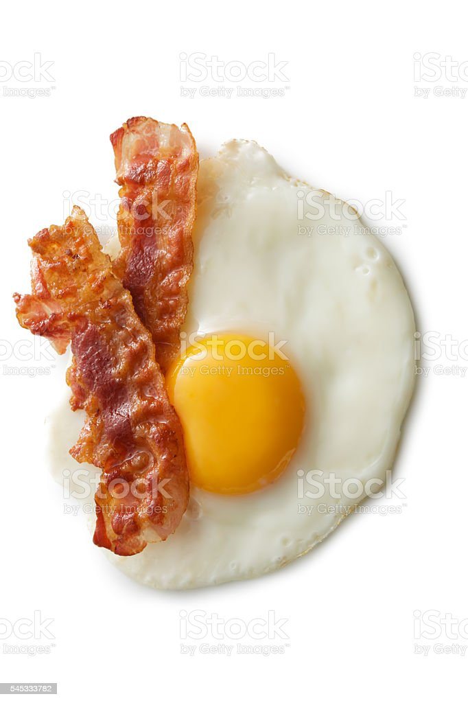 Eggs: Fried Egg and Bacon Isolated on White Background stock photo