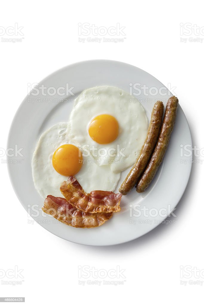 Eggs: Fried Egg, Bacon and Sausage stock photo