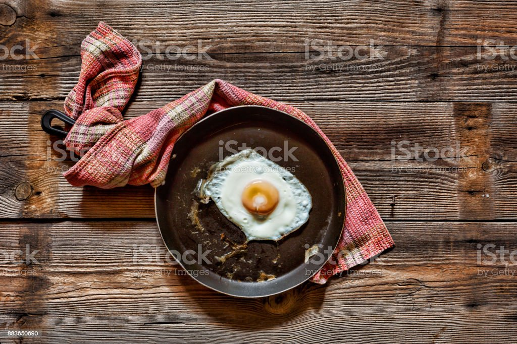Eggs. Fried egg in a frying pan. closeup.Top view,rustic style stock photo