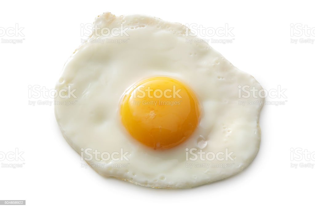 Eggs: Fried Egg Isolated on White Background stock photo