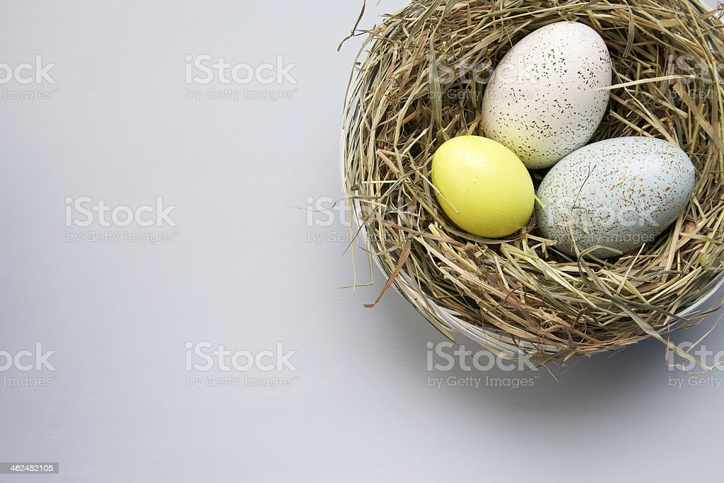 eggs in a basket for eastern stock photo