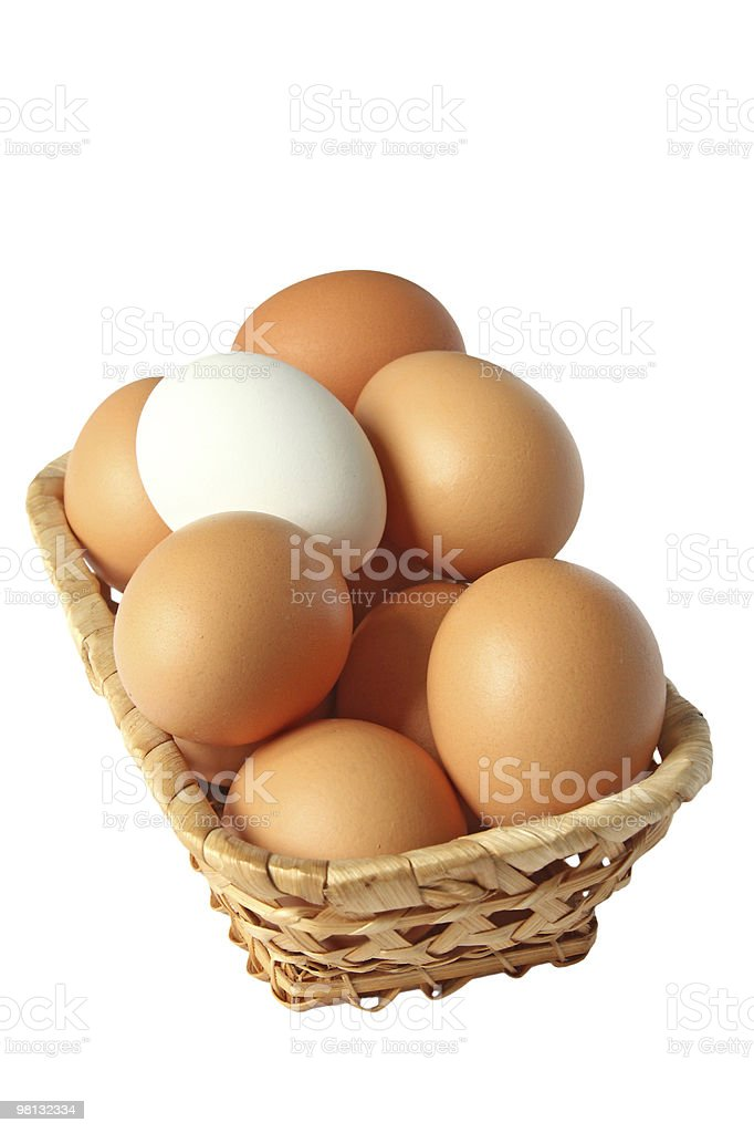 Eggs in a basket royalty-free stock photo