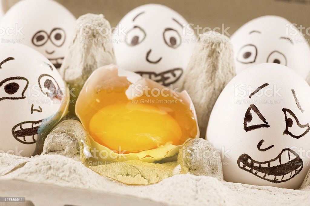 Eggs in a box are scared of dead naber stock photo