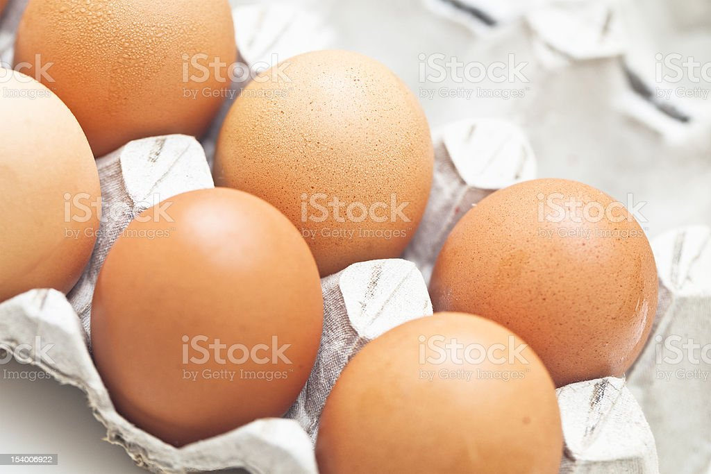 Eggs in a box stock photo