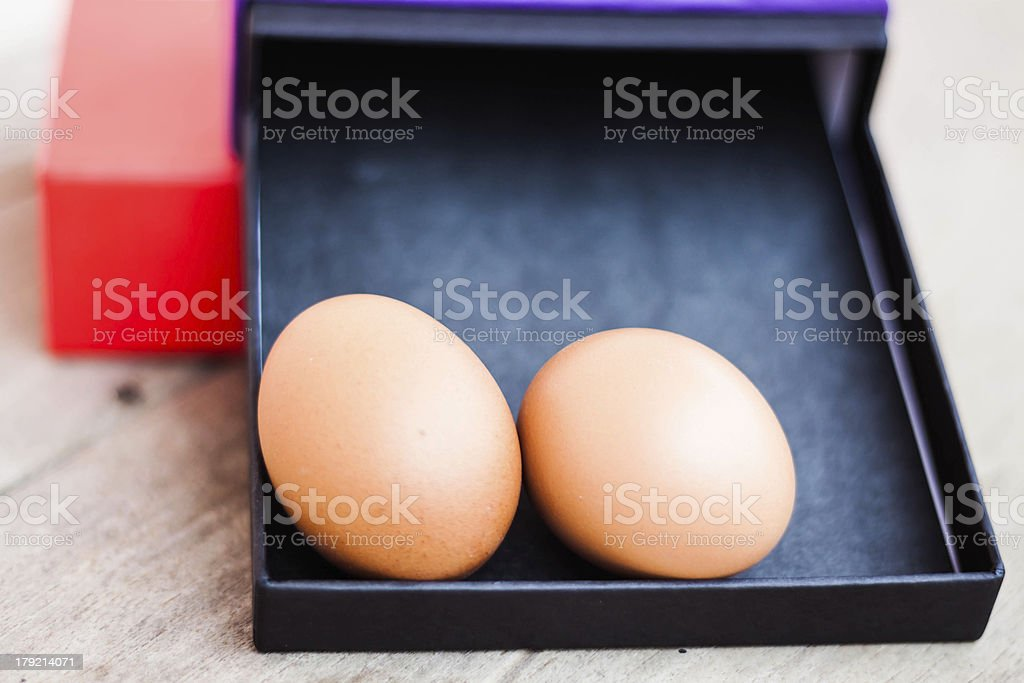 Eggs in a gift box royalty-free stock photo