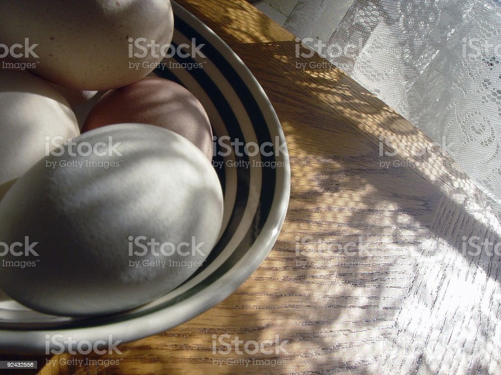Eggs in a lacy country kitchen royalty-free stock photo