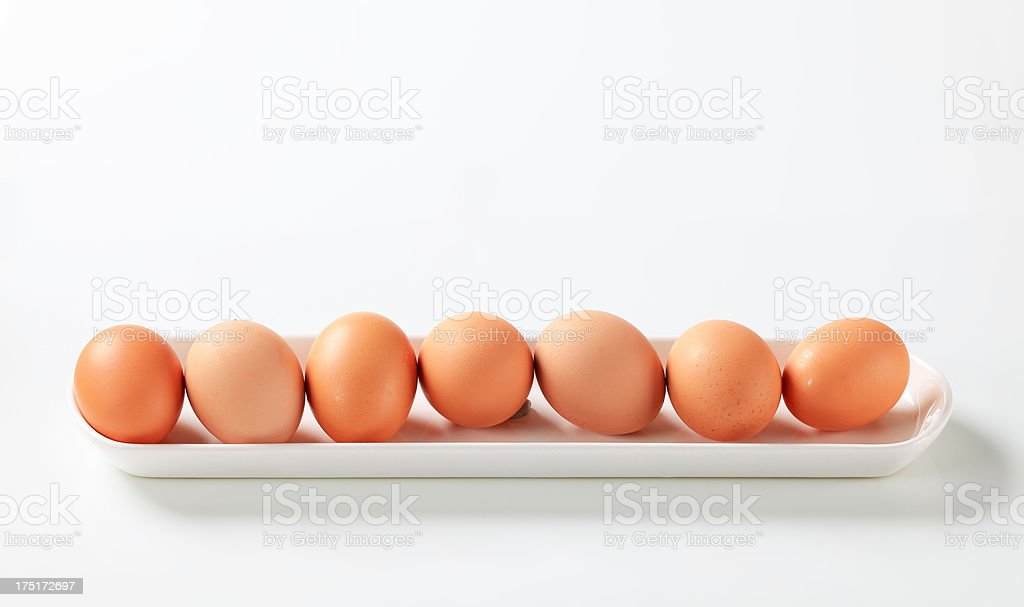 Eggs in a row royalty-free stock photo
