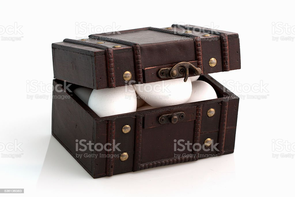 eggs in a suitcase stock photo