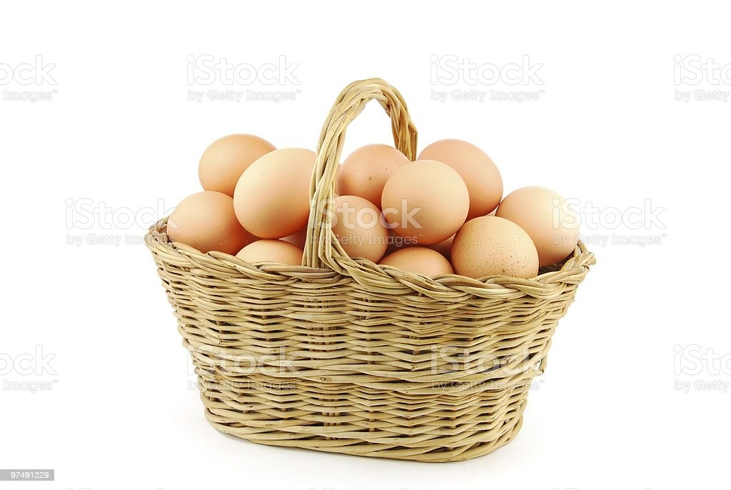 Eggs in a wicker basket on white royalty-free stock photo