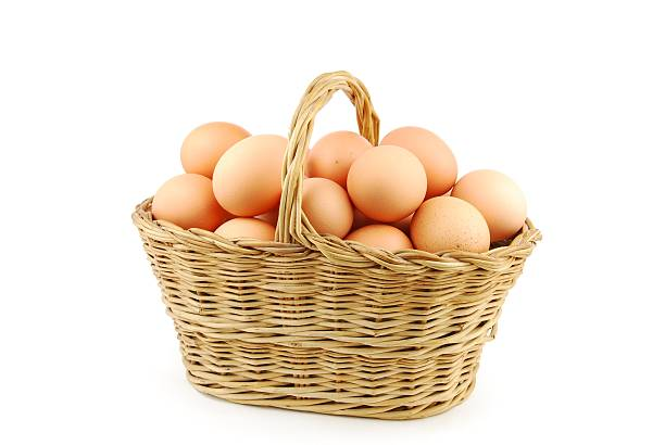 Eggs in a wicker basket on white stock photo