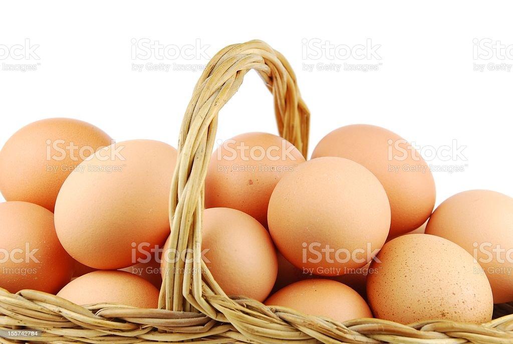 Eggs in a wicker basket royalty-free stock photo