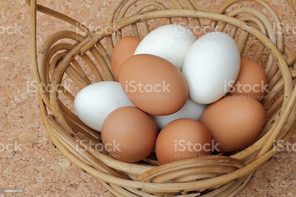 Eggs in basket on coork stock photo