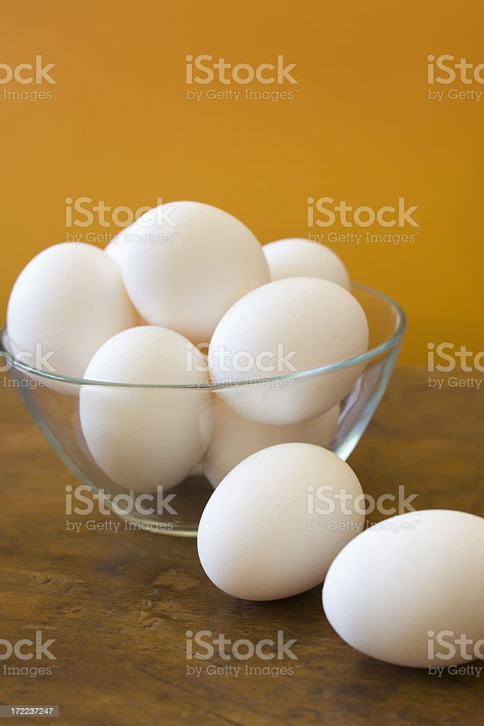 Eggs in Bowl and on Table Countertop, Fresh Healthy Groceries royalty-free stock photo