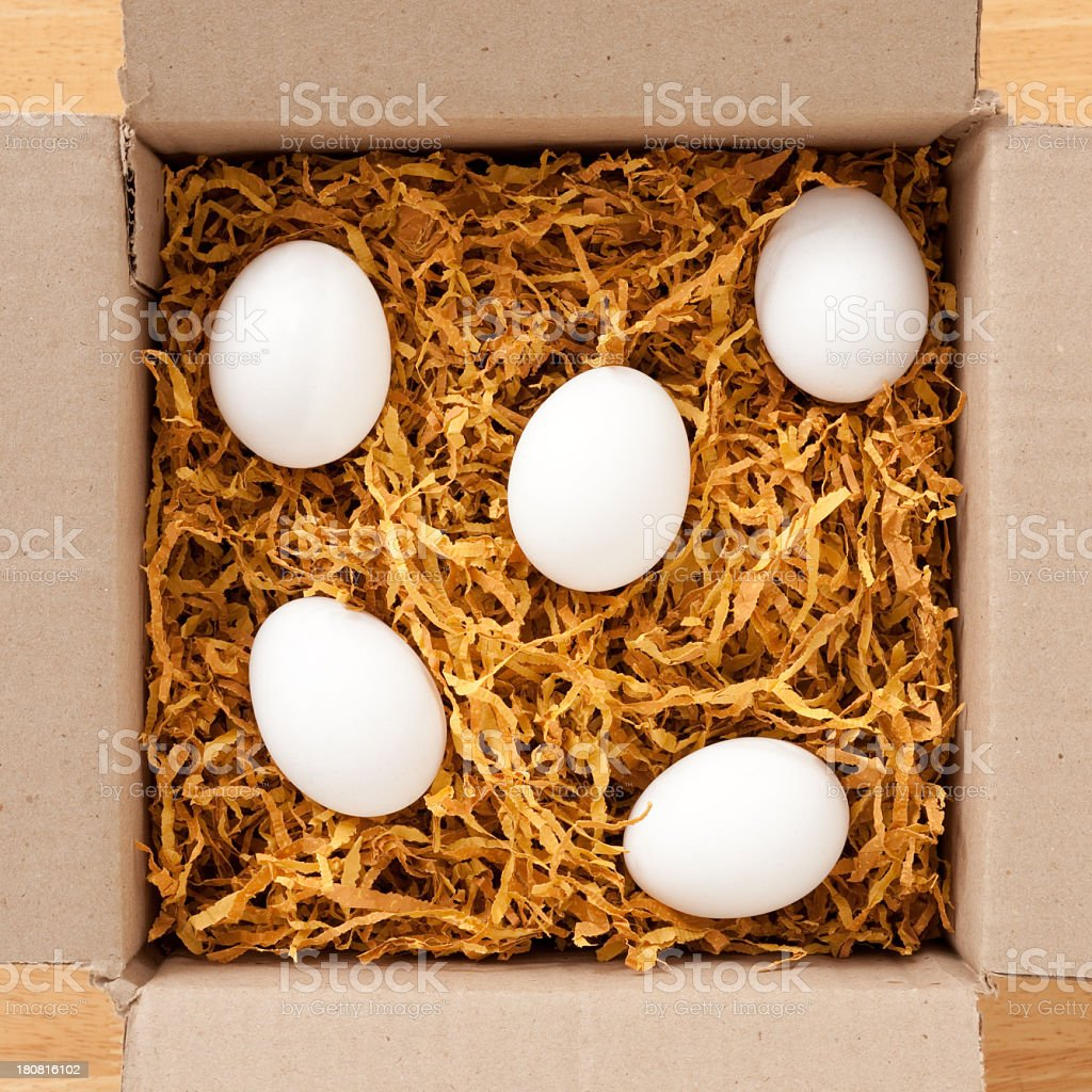 Eggs in cardboard box royalty-free stock photo