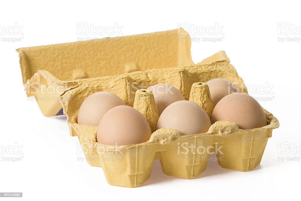eggs in paper egg carton royalty-free stock photo