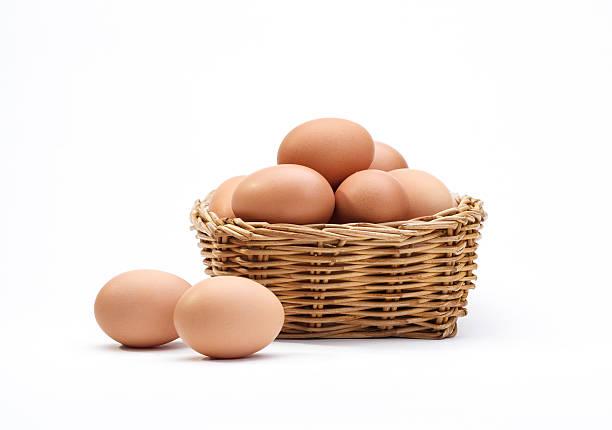 eggs in rattan basket a healthy food gift isolated - frigående bildbanksfoton och bilder