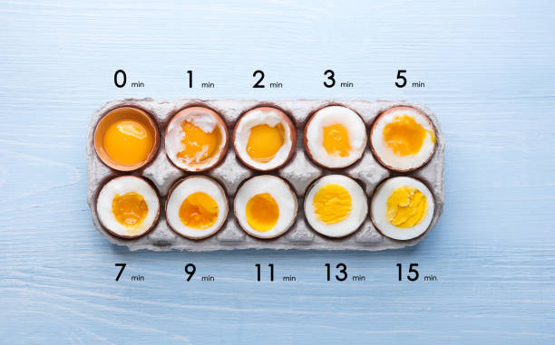 eggs in varying degrees of availability depending on the time of boiling eggs eggs in varying degrees of availability depending on the time of boiling eggs egg white stock pictures, royalty-free photos & images