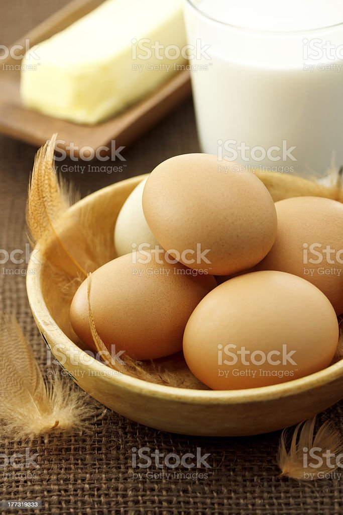 eggs, milk and butter royalty-free stock photo