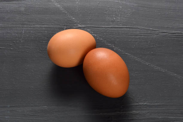 Eggs on Black Background stock photo