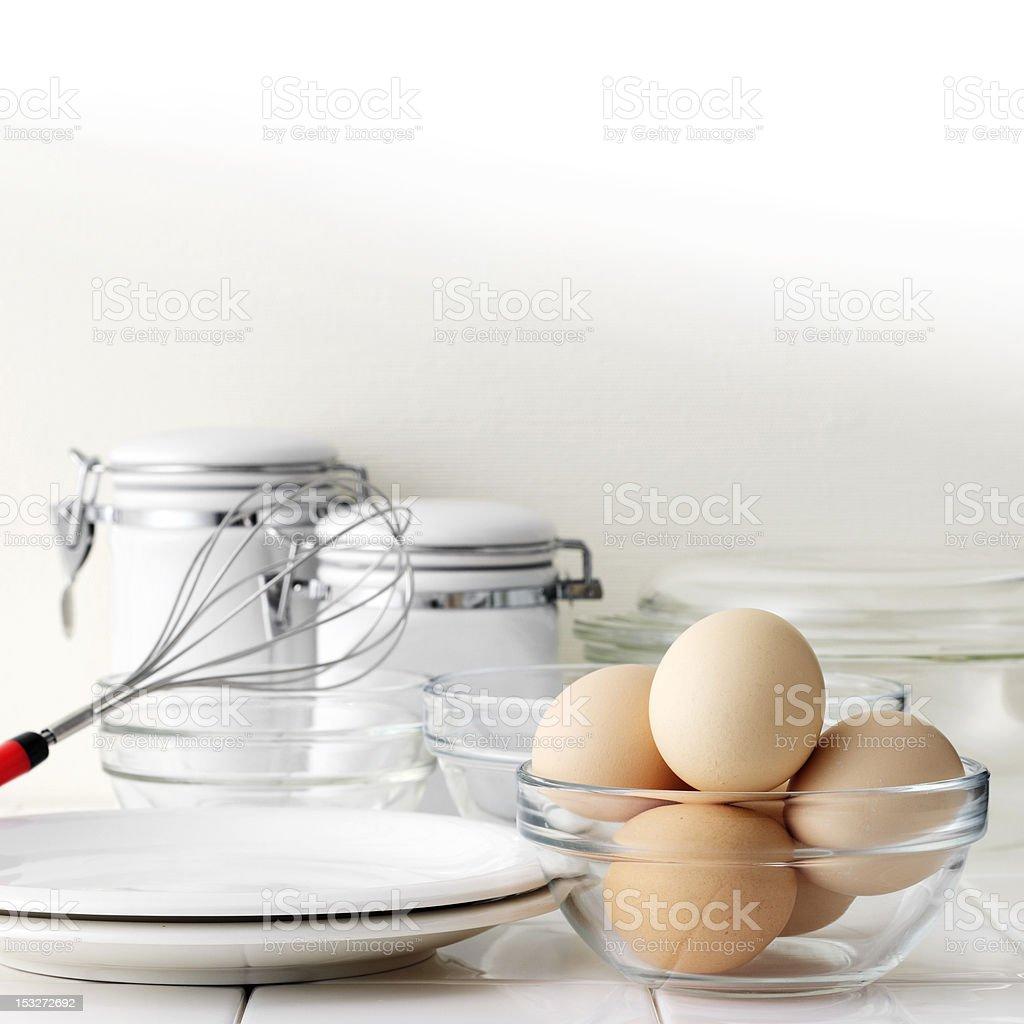 Eggs on kitchen table royalty-free stock photo