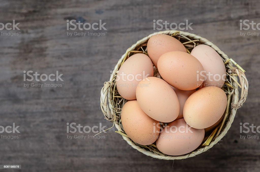 eggs on wood background stock photo