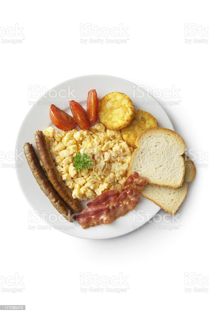 Eggs: Scrambled Egg, Bacon, Sausage, Hash Browns, Tomato and Toast royalty-free stock photo