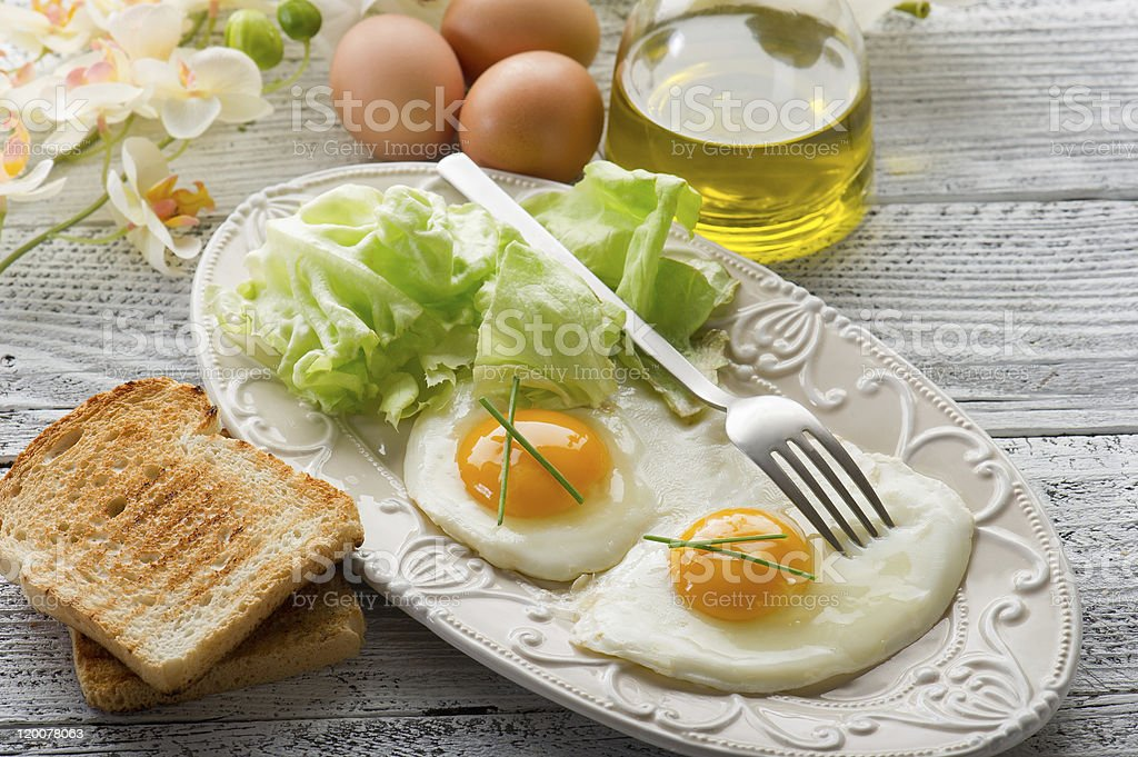 eggs with green salad royalty-free stock photo