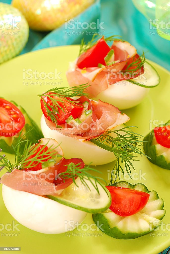 eggs with ham for easter royalty-free stock photo