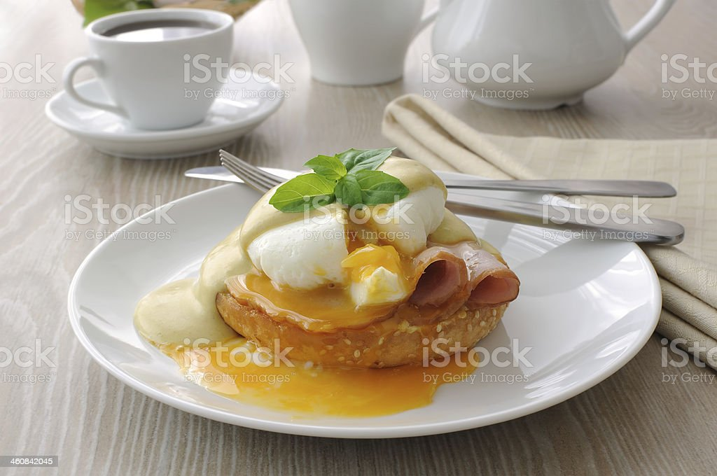 eggs (poached) with ham stock photo