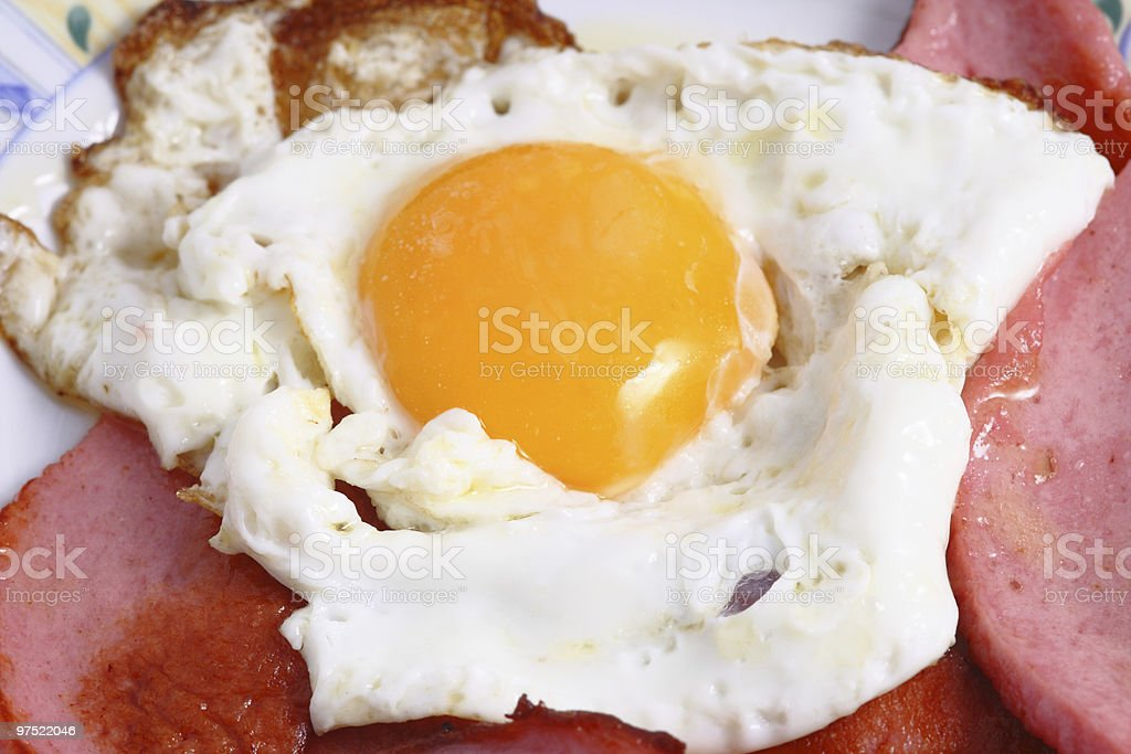 eggs with sausage royalty-free stock photo