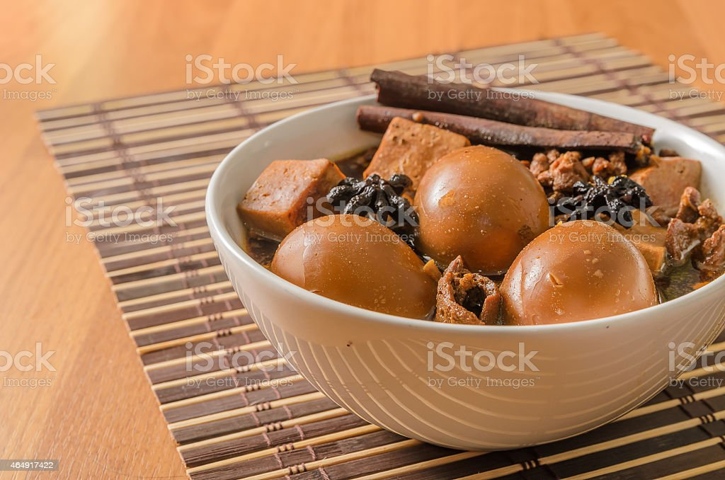 Eggs,tofu and pork in five spices brown sauce stock photo