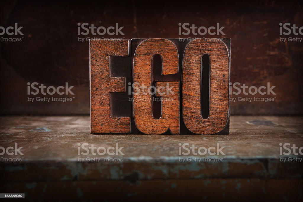 Ego - Letterpress letters stock photo