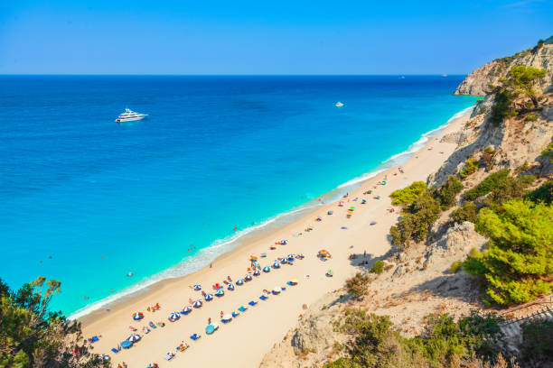 Egremni beach, Lefkada island, Greece. Long beach with turquoise water on the Ionian islands in Greece stock photo