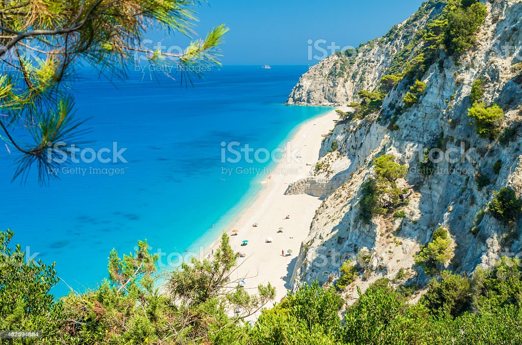 Egremni beach, Lefkada island, Greece stock photo