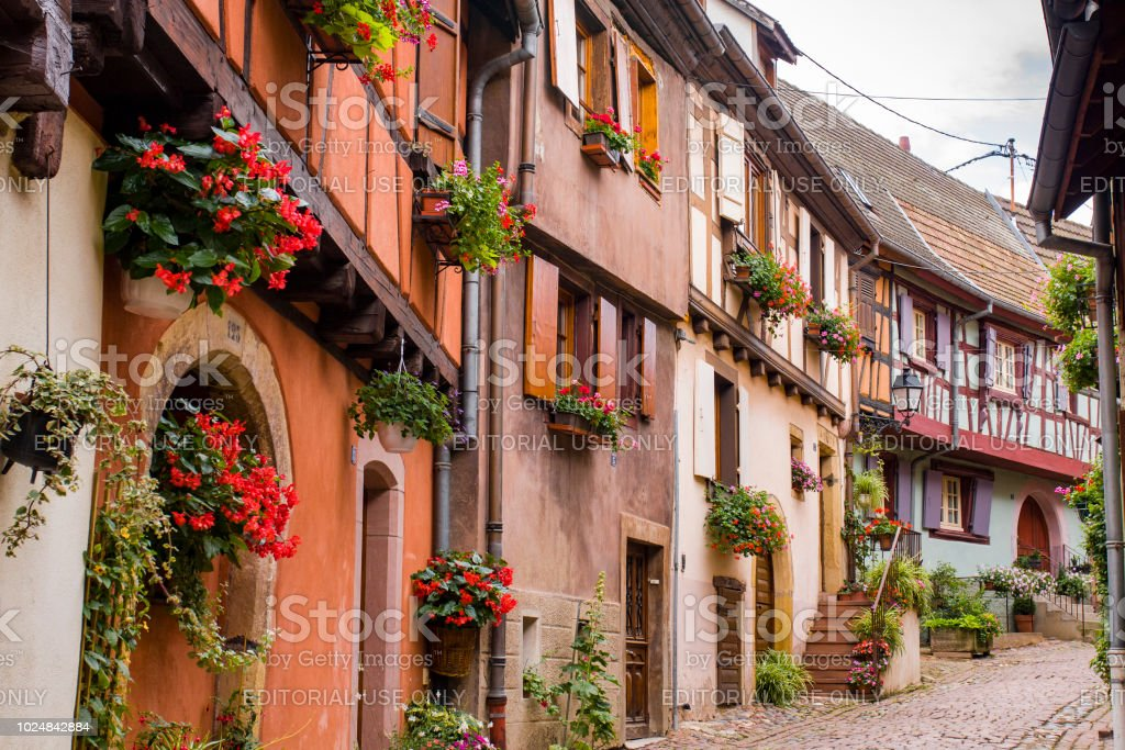 07152018 Eguishem France Colored Half Timbered Houses In Eguishem