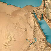 Egypt 3D Render Topographic Map