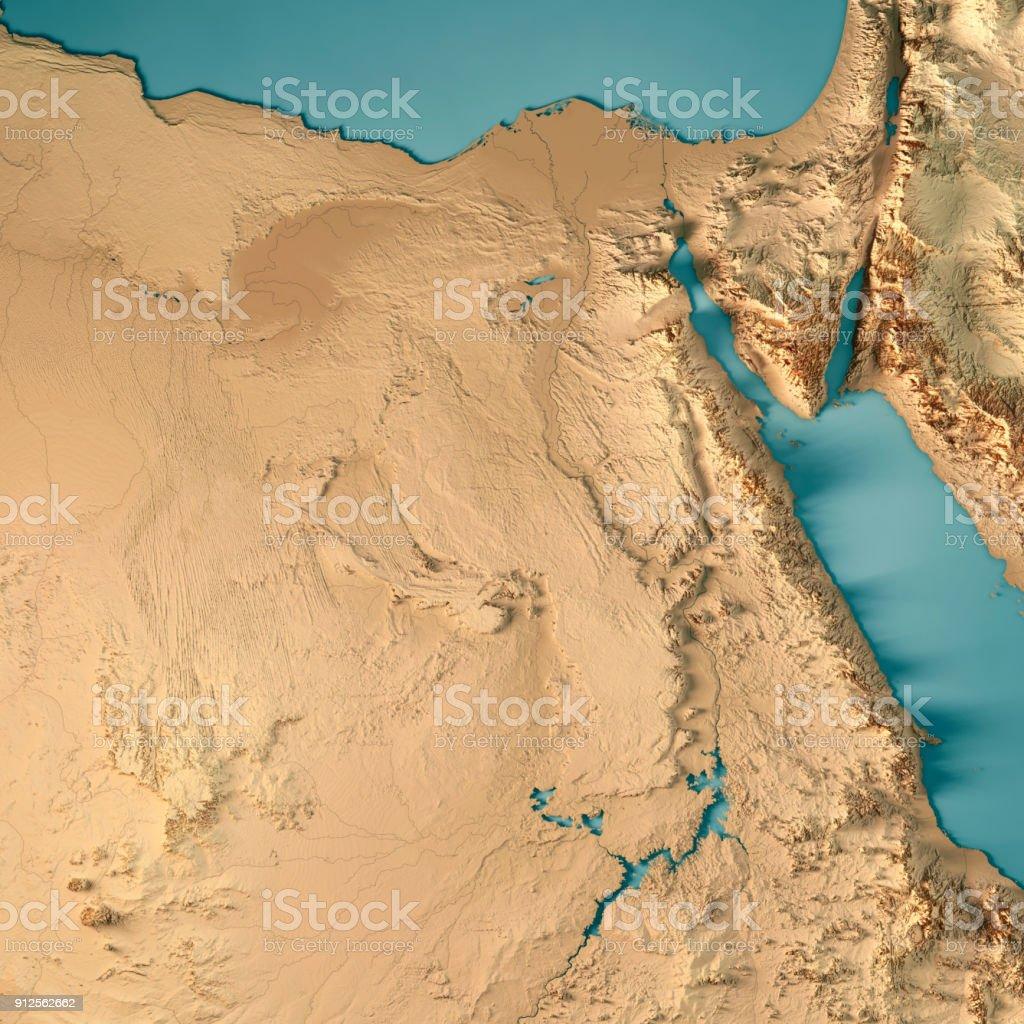 Ägypten-3D Render-topographische Karte – Foto